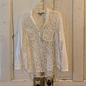 NY Collection white lace blouse Size Medium